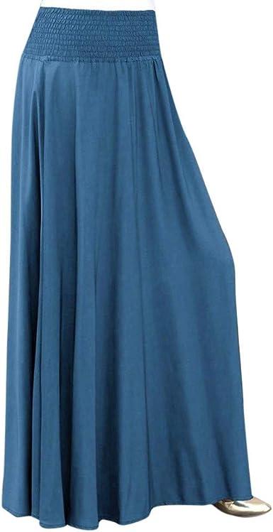 Falda Mujer Larga Casual, Falda Plisada De Color SóLido De La ...
