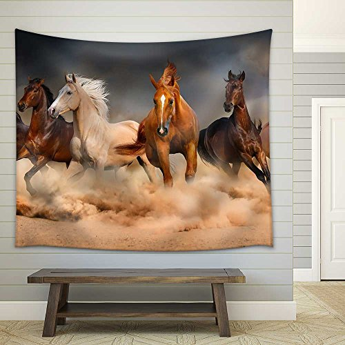 Horse Herd Run in Desert Sand Storm Against Dramatic Sky Fabric Wall