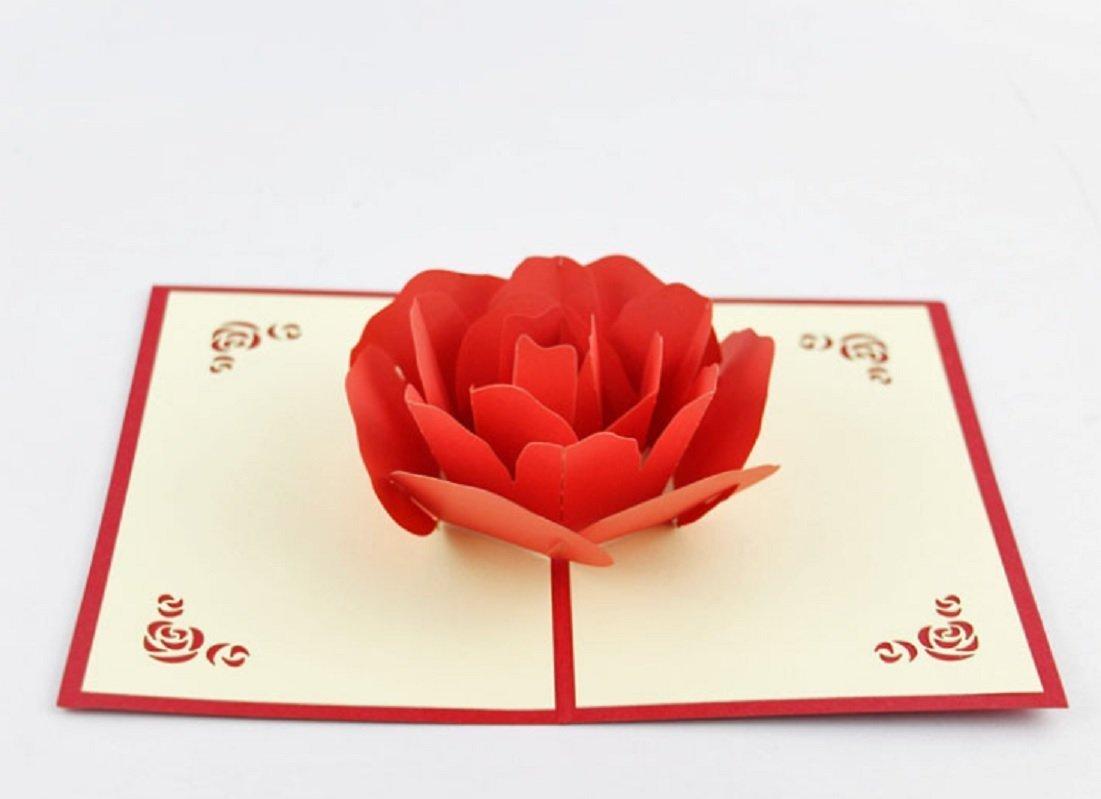 BC Worldwide Ltd Hecho a mano 3D popup popup rose tarjeta de cumpleañ os de San Valentí n tarjeta de la madre dí a tarjeta de aniversario de boda regalo de la tarjeta de invitació n de compromiso para ella