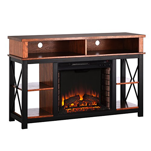 Cheap Furniture HotSpot Electric Fireplace/Media Fireplace - Dark Sienna w/Black - 52 W x 15 D x 32 H Black Friday & Cyber Monday 2019