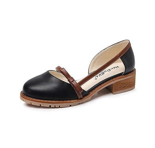 Zapatos de Mujer Otoño Vintage Mocasines Low Heel Bow Zapatos de Gran tamaño (Color : Negro, tamaño : 41 EU): Amazon.es: Zapatos y complementos