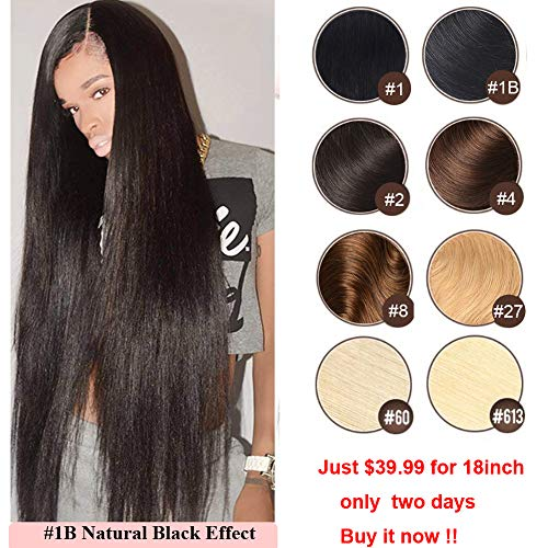lack Hair Extensions Remy Clip in Human Hair Double Weft Real Clip in Human Hair Extensions 100 Natural Hair 22 inch #1B 7 Pieces 120g ()