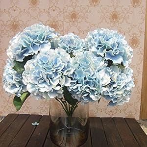Soledi Artificial Silk Fake 5 Heads Flower Bunch Bouquet Home Hotel Wedding Party Garden Floral Decor Hydrangea -- Blue 102