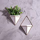 MyGift Modern Triangular Ceramic Hanging Wall Planters with Metal Frames, Set of 2