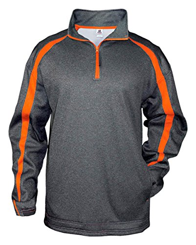 Badger Fleece Sweatshirt - Badger Mens Fusion 1/4-Zip Fleece (1481) -CARBN/BRNT -XL