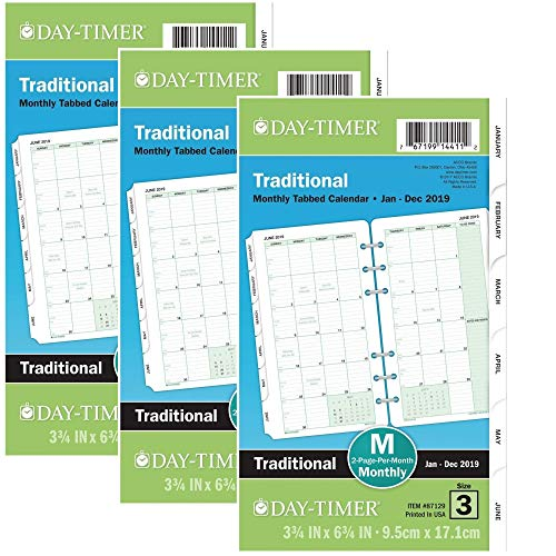 Month Dated Loose Leaf Refill - Day-Timer Refill 2019, Two Page per Month, January 2019 - December 2019, 3-3/4