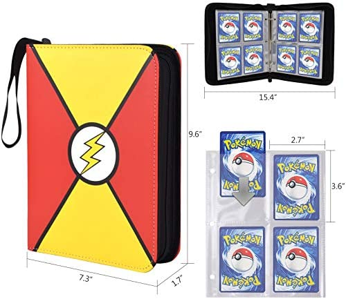 Card Binder Card Holder Carrying Case Trading Card Holder with Transparent Card Sleeves for Pokemon Cards, Game Cards, Coupons, Holds Up to 400 Cards with 50 Premium 4-Pocket Pages (Red Yellow)