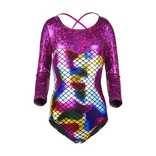 Girl Long Sleeve Rainbow Fish Scale Back Cross Strap Metallic Athletic Dance Gymnastics Leotard Unitard Bodysuit Outfit Purple & Rainbow Size 8