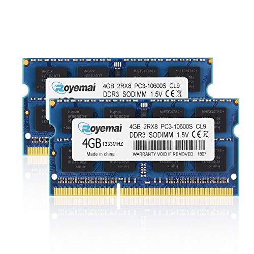 PC3-10600, DDR3 1333, ROYEMAI 8GB DDR3 Kit (2x4GB) RAM DDR3 PC3 10600S DDR3 8GB 2Rx8 204-pin 1333MHZ DDR3 1.5v 4GB DDR3 RAM Memory Upgrade for Laptop (Ddr3 1333mhz Laptop)