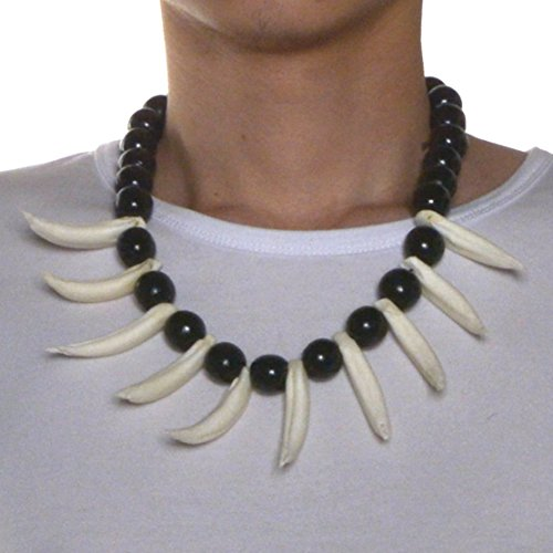 HZMAN Real White Wild Boar Tusks Wood Beads Necklace, Prehistoric Caveman Tribal Necklace