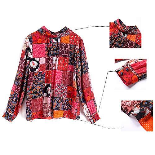 Maglia Pesante Julia Stampata Primavera Fashion Stand Camicia Top Seta In Colletto l Manica Lunga Donna rqPg8wr