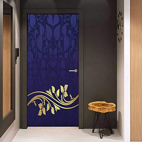 Onefzc Door Sticker Mural Navy Blue Romantic Royal Leaf Pattern with Golden Colored Floral Branch with Leaves WallStickers W23.6 x H78.7 Dark Blue and Gold