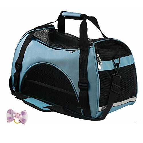 Pet Carriers - Airline Approved Durable Portable Dog Bag Soft Sided Travel Pets Carrier For Dogs, Cats and Puppies Free Bonus With Mini Bowknot(Blue,S)