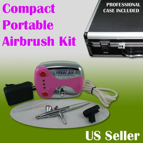 Dual Action/Compact Portable Airbrush Makeup Air Compressor Kit Gravity Feed Spray Salon Nail Pink Color with Case