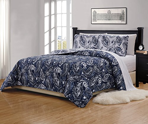 Fancy Collection 3 Pc King/California King Quilted Bedspread Floral Print Paisley Flower Navy Blue White Reversible Over Size New