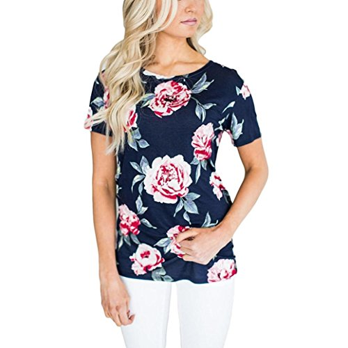 t for Women Blouse Short Tops Sleeve Round Neck Floral Printed Casual ()