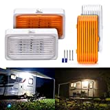 MICTUNING 2Pcs LED RV Porch Utility Light 12V 280 Lumens with On/Off Switch and Removable Lens (White/Amber)