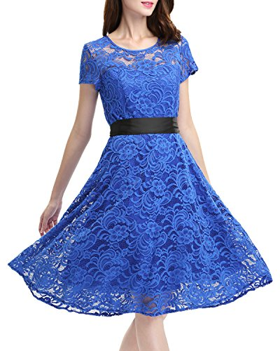 OUGES Women's Crew Neck Short Sleeve Pleated Lace Dress(Blue,M)
