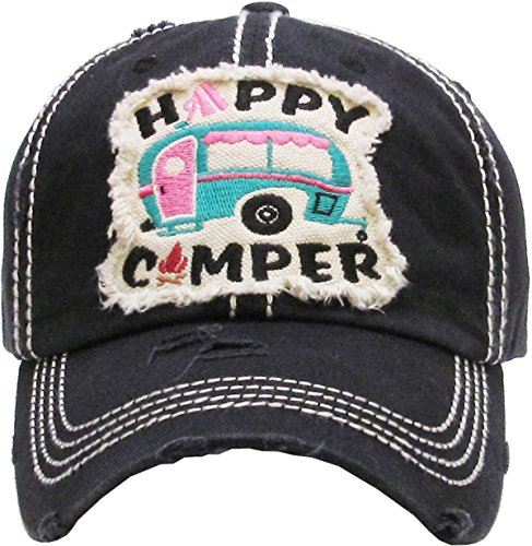 H-212-HCB06 Distressed Vintage Patch Hat: Happy Camper (Block Text) - -