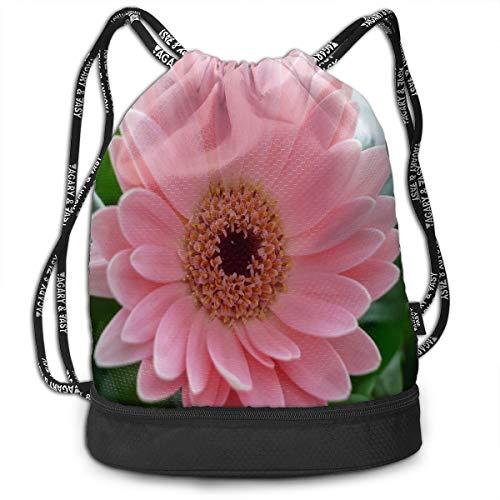 drawstring bag pink chrysanthemum gym