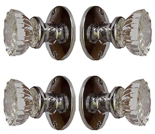Dummy Spindle (Rousso's Reproductions Two Sets Crystal Glass French Door Knob Sets. Includes Self-Centering Spindle and All Hardware to Install Knobs on Both Sides of Two French Doors (Polished Chrome))