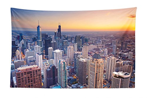 Lunarable American Tapestry, Aerial View of Chicago City Downtown with High Skyscrapers at Sunset Midwest, Fabric Wall Hanging Decor for Bedroom Living Room Dorm, 45 W X 30 L inches, Blue Yellow -