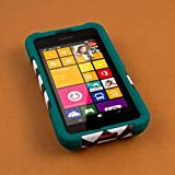 Nokia Lumia 530 Case, MPERO IMPACT X Series Dual Layered Tough Durable Shock Absorbing Silicone Polycarbonate Hybrid Kickstand Case for Lumia 530 [Perfect Fit & Precise Port Cut Outs] - Teal Chevron