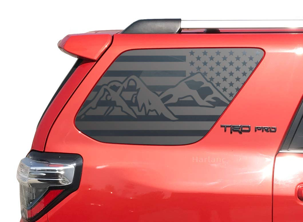 Amazon com toyota 4runner mountain side usa flag decals in matte black for side windows tf13a handmade
