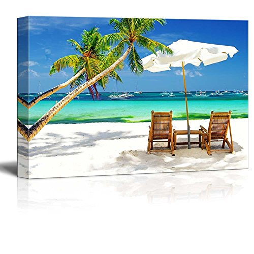 Tropical Holidays Vacation at the Beach with Palm Trees Wall Decor ation