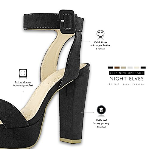 Women's Party Buckle Strap Ankle Wedding Sandal Chunky Evening Platform DailyShoes Suede Heel Shoes Toe Open Black Women's Pumps 5vxA7PwO