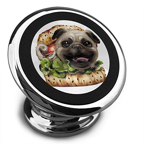 FISHISOK Magnetic Car Phone Mount Holder Fun Hamburger Pug Deluxe Car Mobile Bracket 360 Degrees Rotation from Dashboard Compatible with iPhone Samsung,etc