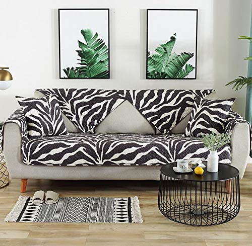 (BW0057 Sofa Slipcover Couch Cover Sofa Cushion for Futon,Loveseat,Chair Furniture Protector Quilted Printed Anti-Slip Sofa Cover(1 Piece,W36 x L36inch,Black))