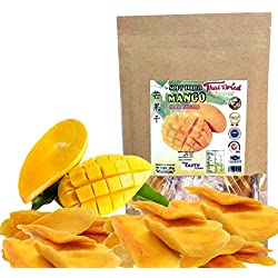 Soft Dried Mango Slices, Fresh Natural and Real Mango, Low Sugar , Unsulfured , Snack to eat. 150 g. or 5.3 Oz. Thai Tasty Yummy.