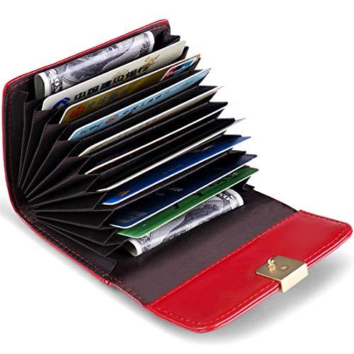 JEEBURYEE Women/'s Oil Wax Real Leather Multi Credit Card Holder Wallet RFID Long