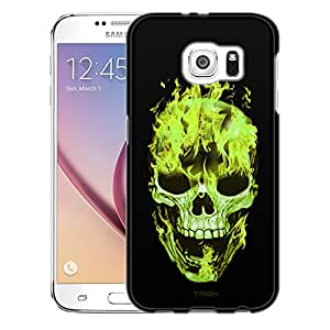 Samsung Galaxy S6 Case, Slim Snap On Cover Green Flaming Skull on Black Case