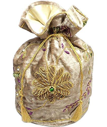 inch Silk Parties Beadsnfashion Wear Velvet Clutch 10 Size Handbag Potli Indian Golden for Evening n00SwOx