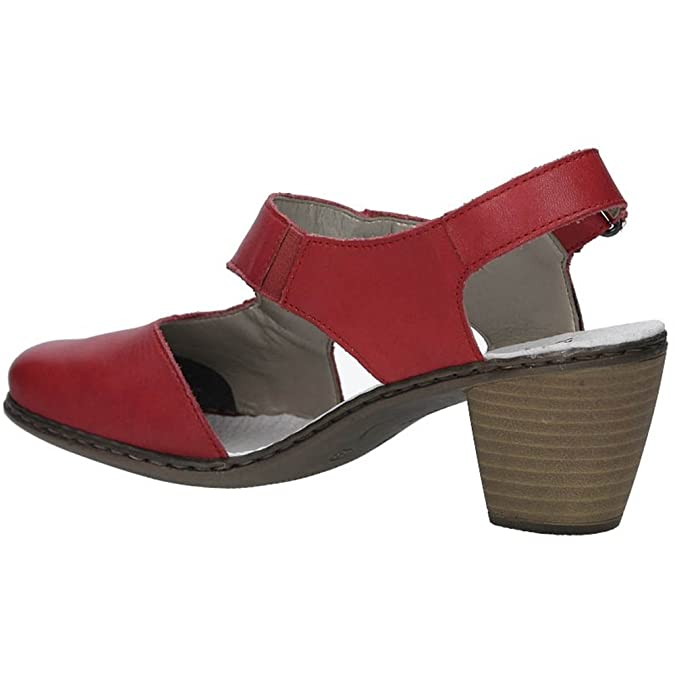 RIEKER LADIES SANDALS Sandals Sling Red Real Leather 41779