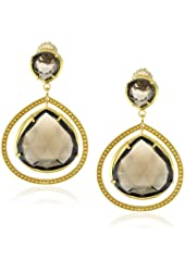"Coralia Leets Jewelry Design ""Riviera"" Double Stone Smokey Quartz Gold Frame Post Earrings"
