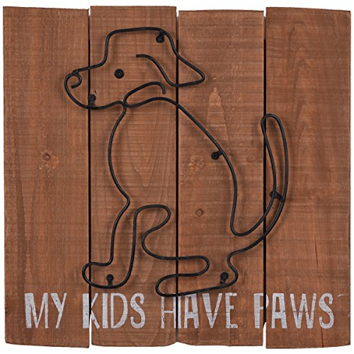 NIKKY HOME My Kids Have Paws Wood Farmhouse Dog Picture Wall Art Sign Plaque 14