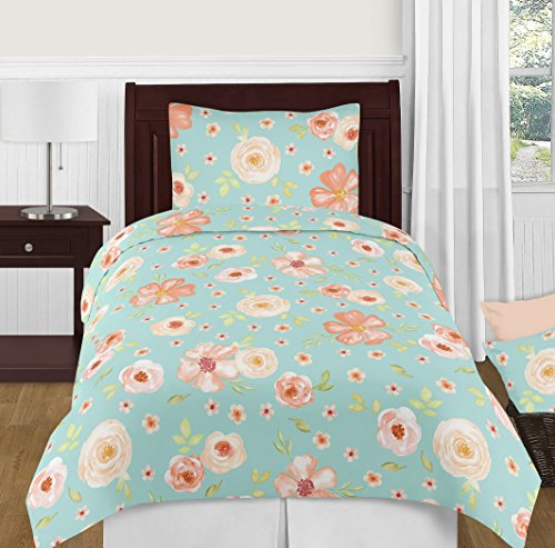 (Sweet Jojo Designs Turquoise and Peach Shabby Chic Watercolor Floral Girl Twin Kid Childrens Bedding Comforter Set - 4 Pieces - Pink Rose Flower)