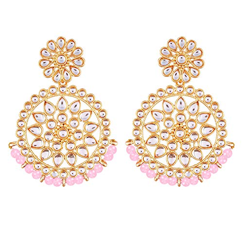 Aheli Ethnic Chandbali Dangle Earrings Light Pink Beads Indian Bollywood Wedding Party Fashion Traditional Jewelry for Women