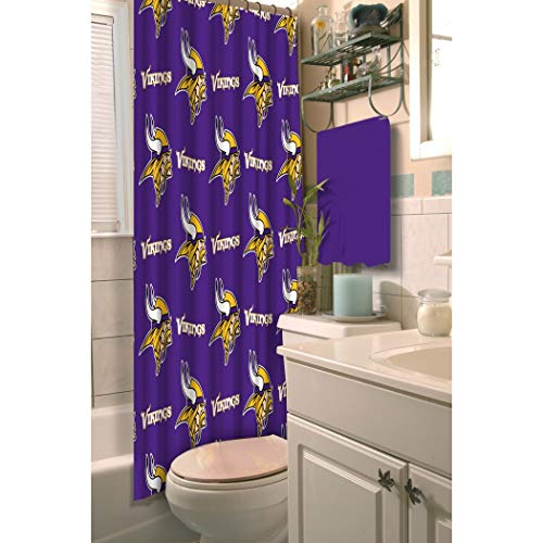 1 Piece Purple NFL Minnesota Vikings Football Sports Themed Shower Curtain, Polyester Detailed Sports Pattern, Modern Elegant Design, Official Colorful Team Logo Printed, All Seasons, True Color