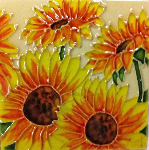 (Continental Art Center SD-004 4 by 4-Inch Four Sunflowers Ceramic Art Tile)