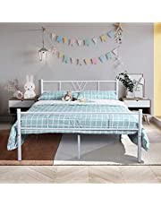Furniturer INC Bed Frame - Metal Mattress Foundation with Headboard and Footboard No Box Spring Needed Easy Assembly