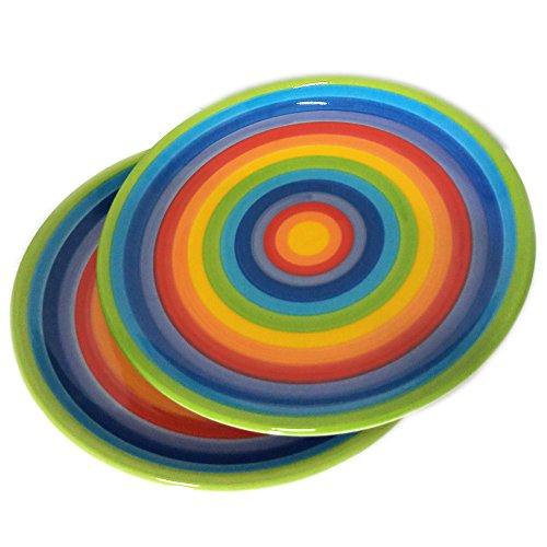 CinMin Rainbow Striped Stoneware Ceramic Dinner Plate Set of 2, 10 Inch