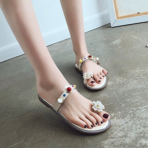 WHLShoes Seaside Sandals Black Sandals Wild Women'S Resort Bottomed Leisure Female Rivets Flat Comfortable Beach Slippers Lazy Toe And 7R57rqcw