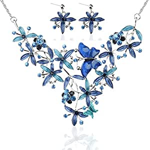 Ginasy Vintage Statement Necklace and Earrings Set - Fashion Chunky Jewelry for Women (Butterfly and Flower Blue)