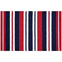 C&F Home Hooked White, Blue Stripes Patriotic Rug, Red