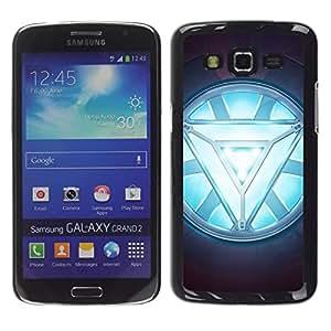 Caucho caso de Shell duro de la cubierta de accesorios de protección BY RAYDREAMMM - Samsung Galaxy Grand 2 - ARC REACTOR GLOW