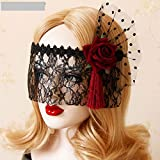 Idealgo Retro Black Lace Veil Cover Headdress Funny Party Half Face Death COS Masks Sexy Eyemask Mask for Halloween Masquerade Party (Style 1)